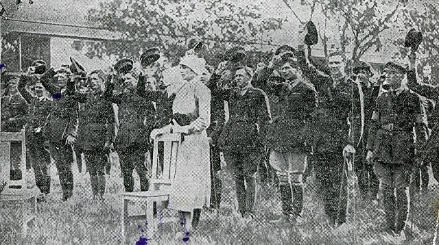 Standing at the front behind a chair is Sister Gertrude H. Faddy. The occasion was the Investiture Ceremony in October 1919 at which Sister Gertrude and others in the picture received their military awards for service in World War 1 (1914-1918). The picture shows them giving three cheers to His Majesty the King (George V). In an act of chivalry, Sister Gertrude, being the only female on parade, was provided with a chair to sit on at the front of the parade. She politely refused and opted to stand with the rest of the officers and men she cared for during the war. (Picture above was taken from the Sunday Times, 12 Oct 1919)